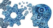 graphic of head, brain and gears in all
