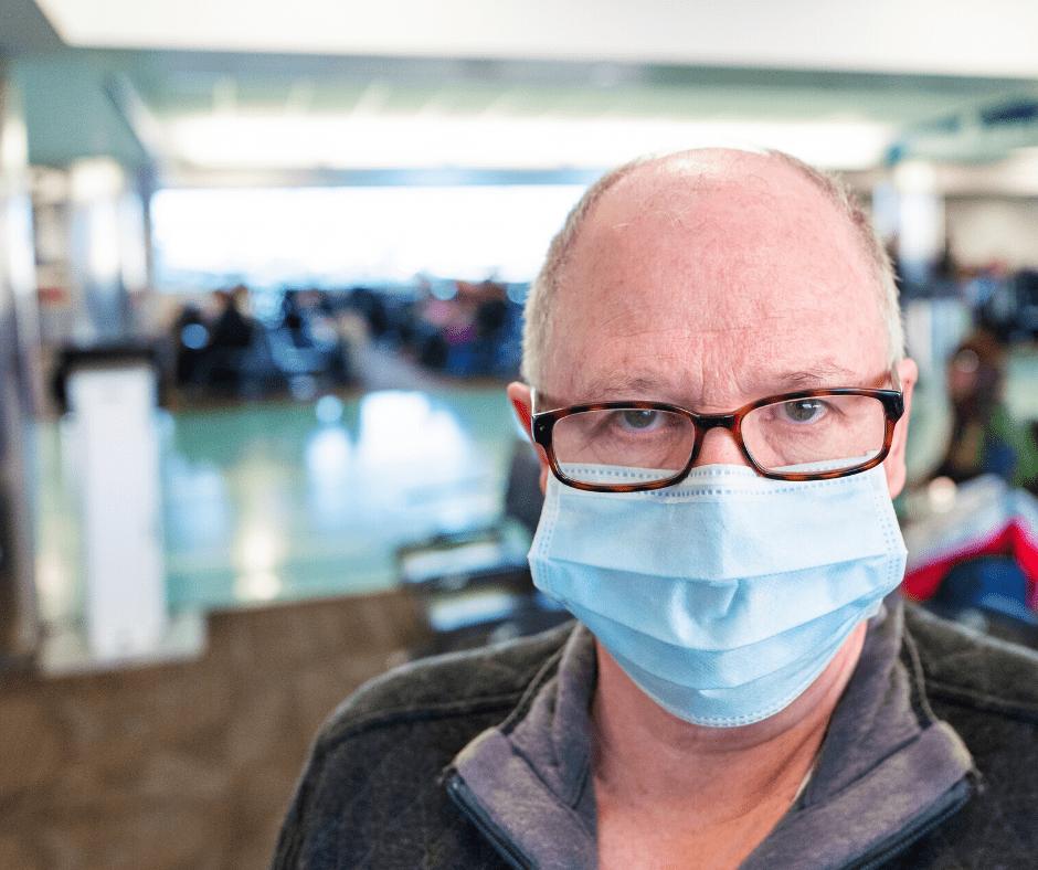 social distancing, man wearing a mask
